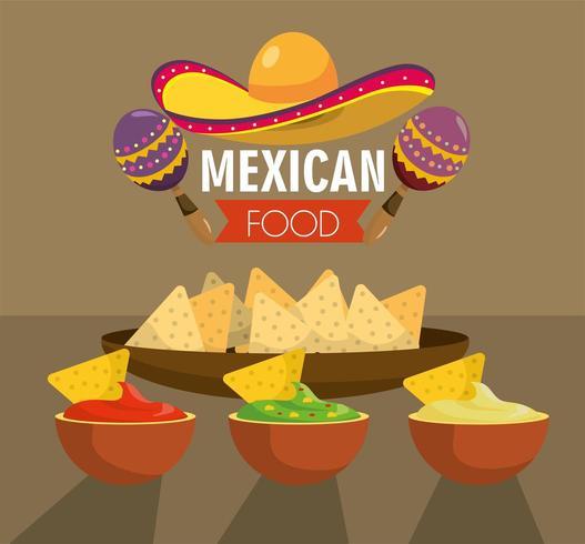 Mexicaans eten met traditionele pittige sauzen vector