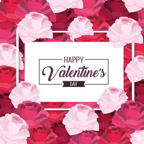 frame met bloemendecoratie tot gelukkige valentijnskaart vector