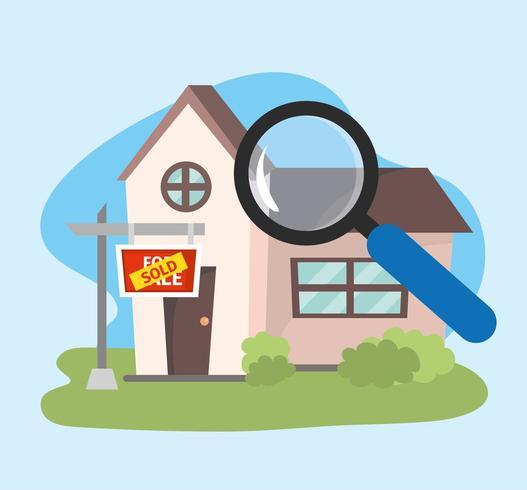 huis verkocht onroerend goed plan met vergrootglas vector