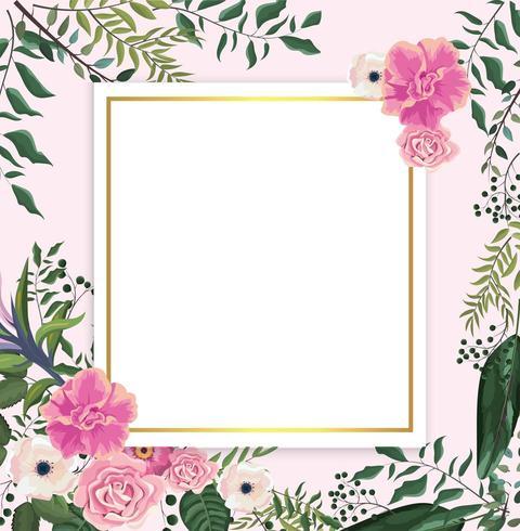 kaart met tropische rozen en bloemen met takken bladeren vector