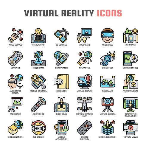 Virtuele realiteit dunne lijn pictogrammen vector