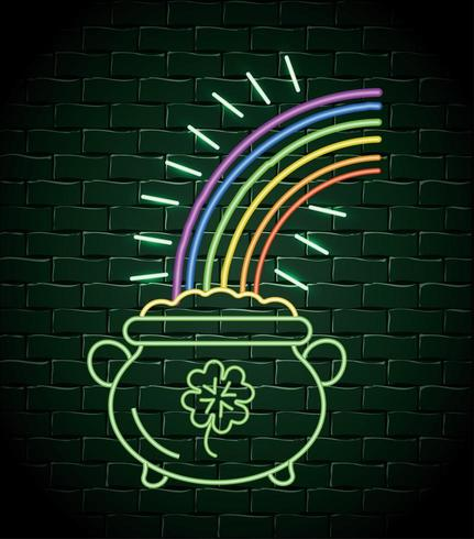 ketel met munten en regenboog neon label vector