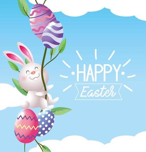 Pasen-konijn met eierdecoratie en planten vector