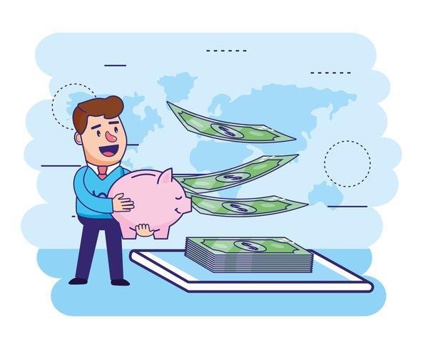 man met piggy en financiën rekeningen met smartphone vector