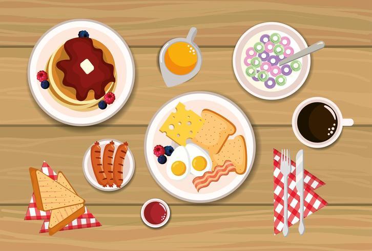heerlijke pannenkoeken met gebakken eieren en gesneden brood vector