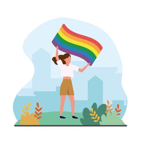 vrouw met regenboogvlag naar vrijheid parade vector
