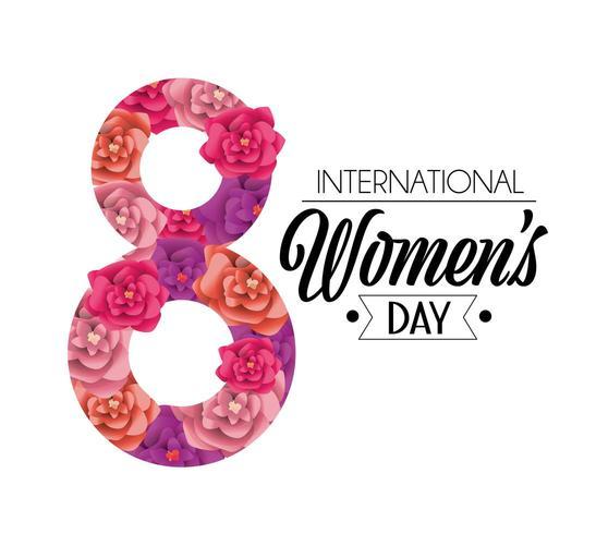 acht met rozen tot de viering van de dag van de vrouwendag vector