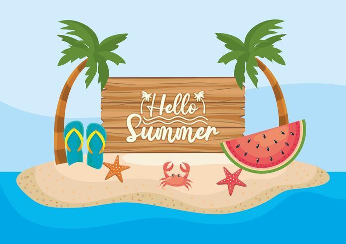 palmbomen met houten embleem en watermeloen met flip-flop en krab met zeesterren vector