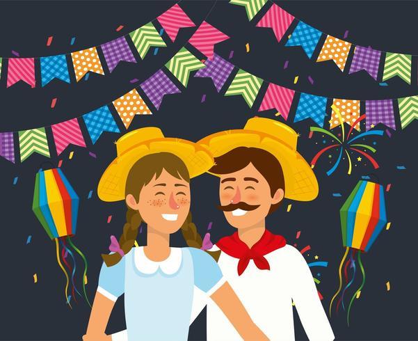 vrouw en man koppel met hoed en lantaarns vector