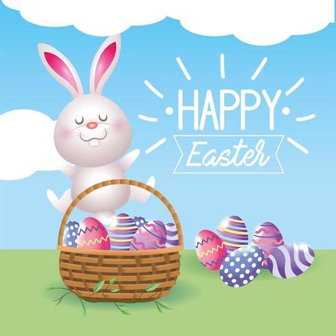 gelukkige konijn en eierendecoratie met mand vector