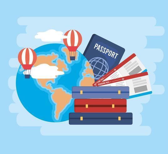 globale kaart met luchtballonnen en kaartjes met paspoort vector