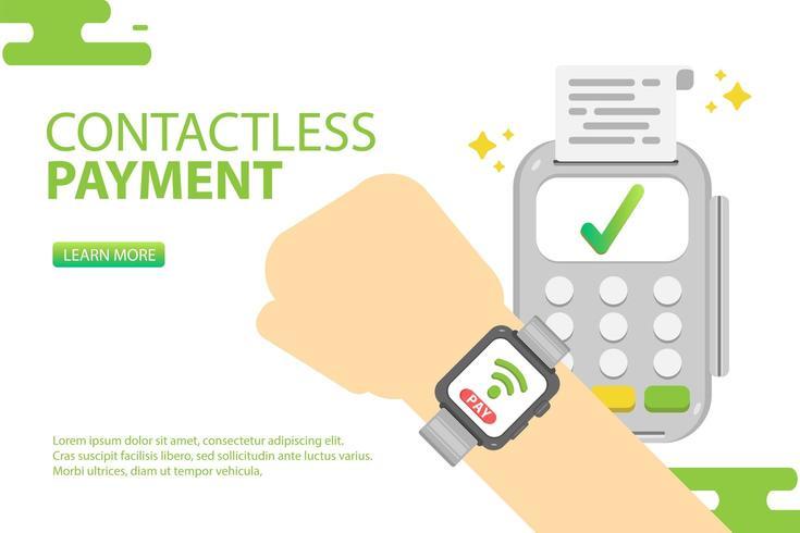 Slim horloge met contactloze betaling. Betaal online concept vector