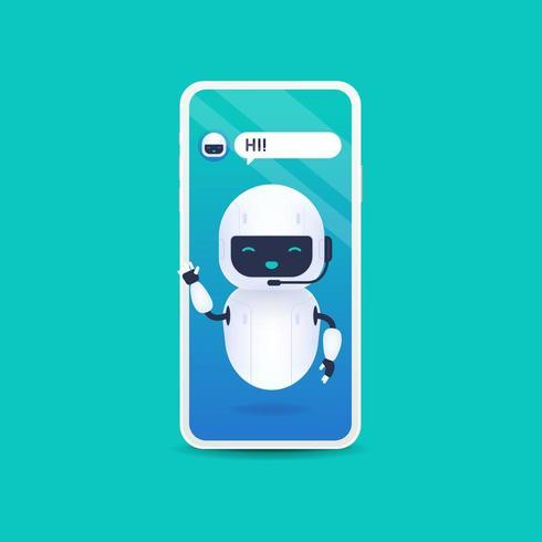 Witte vriendelijke Android-robot zegt hallo. Chatbot toekomst concept vector