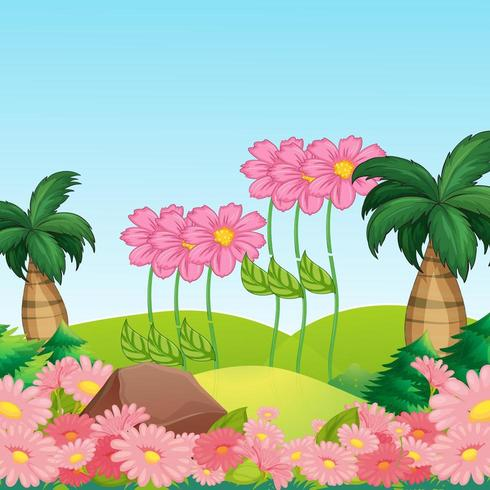 prachtige landschapsachtergrond met mooie bloemen vector