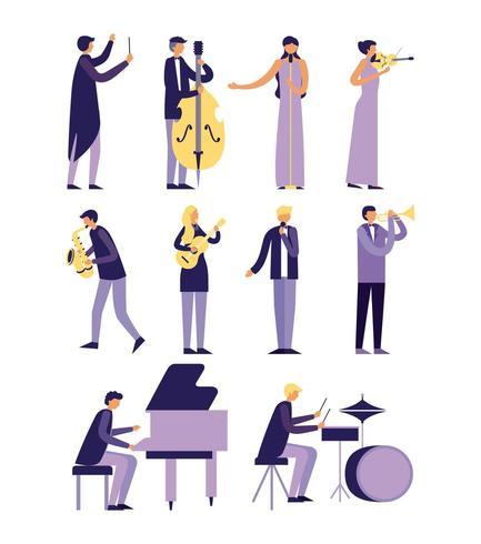 muziek mensen instrumenten ingesteld vector