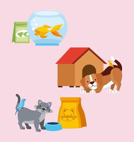 Verschillende huisdierenset vector