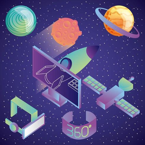 virtual reality technologie futuristisch entertainment vector