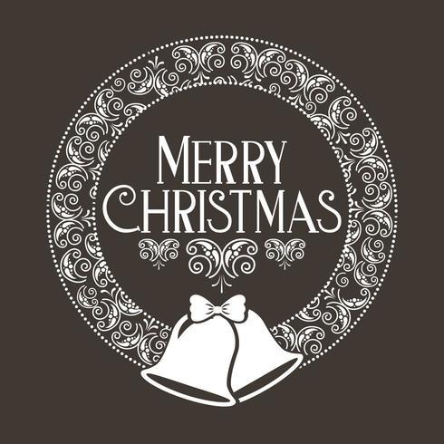 vrolijke kerstdecoratie met klokken en krans vector