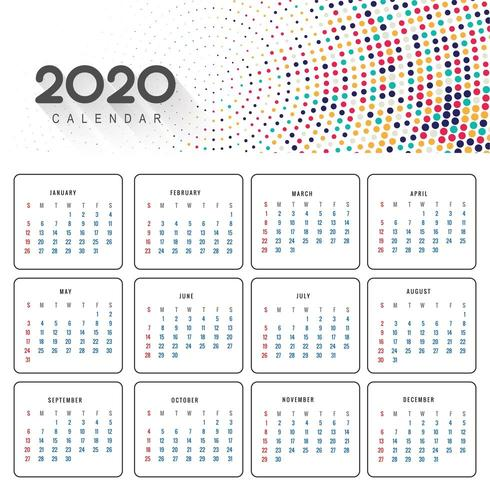 Mooie 2020 kalender in kleurrijk gestippeld ontwerp vector