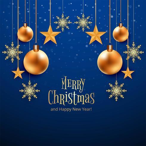 Mooie blauwe Merry Christmas-kaart vector
