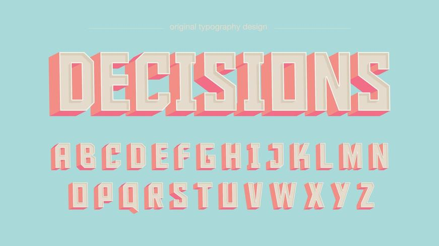Retro Vintage kleurrijke vierkante randen artistieke lettertype vector