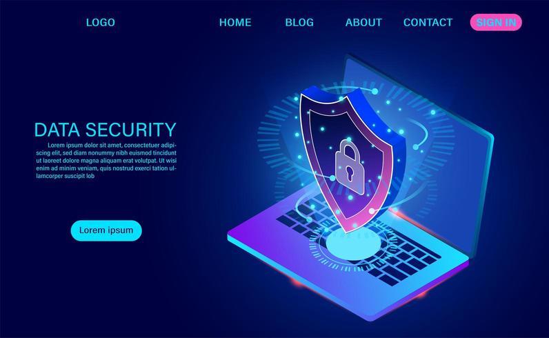 Gegevensbeveiliging modern concept. beschermt gegevens tegen diefstalgegevens en hackeraanvallen. vector