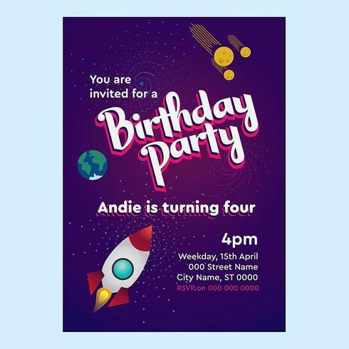 Verjaardagsuitnodiging voor raket en ruimtethema voor kinderen vector