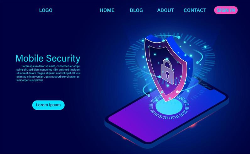 Mobiel beveiligingsconcept. beschermt smartphone tegen diefstalgegevens en aanvallen. vector