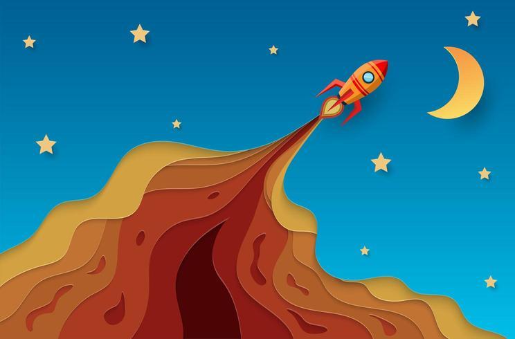 Papier raket vliegen naar de hemel concept. papieren kunst vector