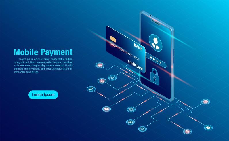 gegevensbescherming concept. online betaling beveiligingstransactie via creditcard. vector