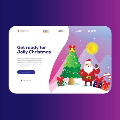 Kerstmis Landing Page Achtergrond vector
