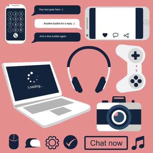 Geïsoleerde technologie gerelateerde gadgets voor communicatie vector