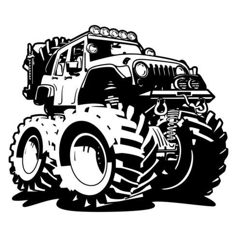 4x4 off-road zwart-wit cartoon vector