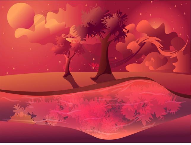 Magisch landschap van een zonsondergang van de lentezomer tijdens schemeringvector vector