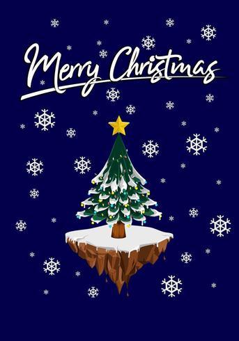 Christmas wenskaart met boom en sneeuwvlok op blauwe achtergrond vector