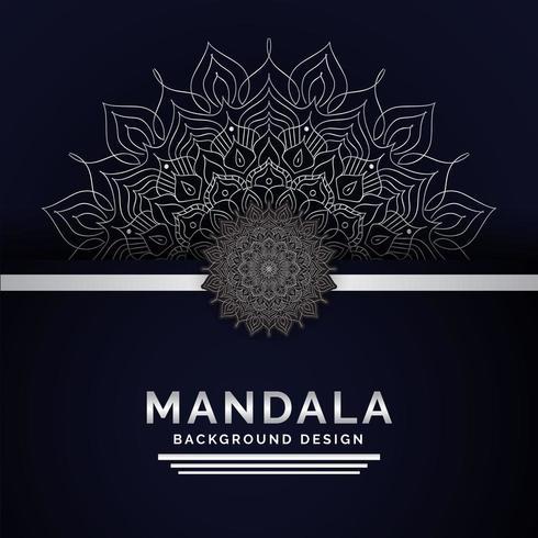 Mandala achtergrond Arabische stijl zilveren kleur vector