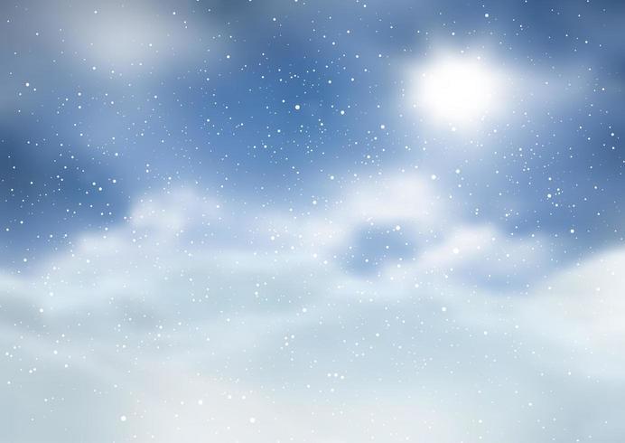 Kerst landschap met besneeuwde ontwerp vector