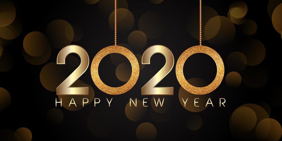 Glittery stijl Gelukkig Nieuwjaar bannerontwerp vector