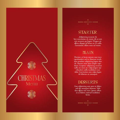 Decoratief kerstmenu-ontwerp - dubbelzijdig vector