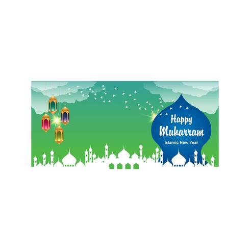 Gelukkig Muharram kleurrijke achtergrond met lantaarns en gebouwen vector
