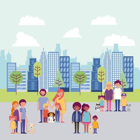 mensen park en stad vector