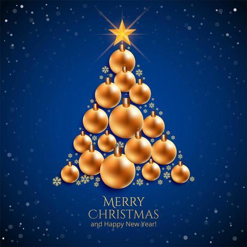 realistische decoratieve kerstballen boom op blauwe achtergrond vector