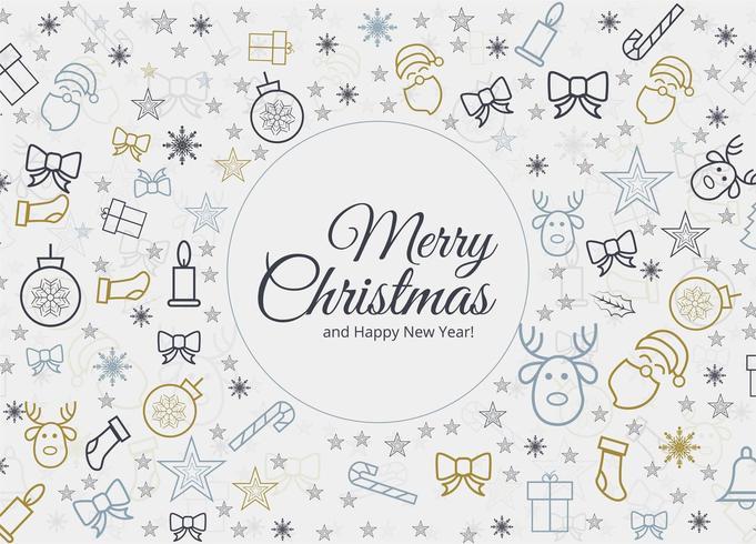 Prachtige kerst elementen kaart achtergrond vector