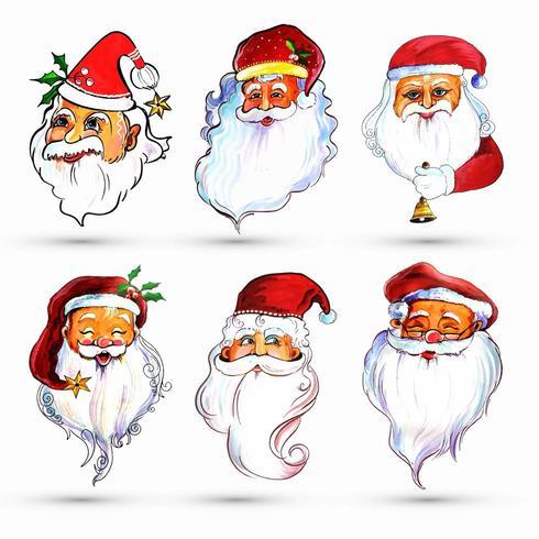 Set van aquarel vrolijke Santa Claus zes afbeeldingen vector