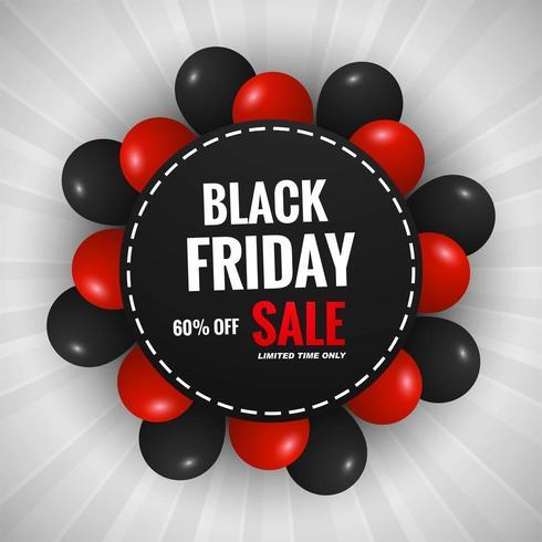 zwarte vrijdag verkoop achtergrond met ballonnen ontwerp vector