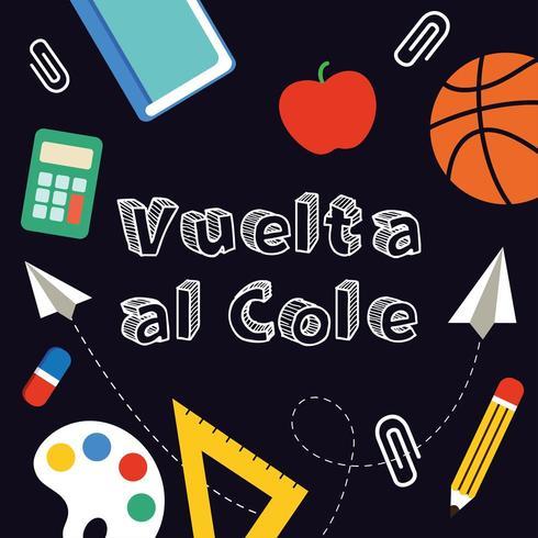 Terug naar school banner geschreven in het Spaans. vector