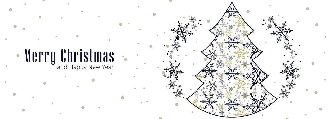 Mooie Kerst sneeuwvlok kaart viering banner achtergrond vector