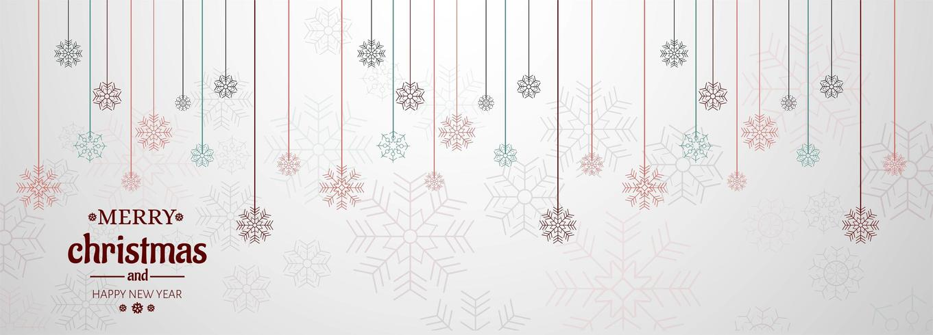 Horizontale banner met kerstkaart vector achtergrond