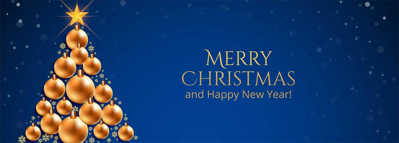 vrolijk kerstfeest decoratieve ballen boom banner blauwe achtergrond vector