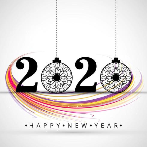 prachtige 2020 nieuwe jaar tekst festival festival achtergrond vector
